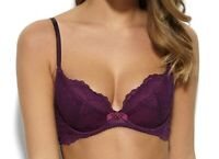 Gossard Superboost Bra Purple Size 36DD Underwired Padded Plunge Lace 7711