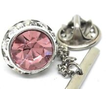 ROSE PINK CRYSTAL TIE TACK  RHODIUM PLATED