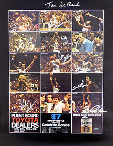 1978-79 NBA Champions Supersonics Auto Poster Photo 9 Sigs Fred Brown MCS 51053