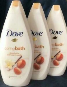 3 x Dove Shea Butter & Vanilla CARING BATH Moisturising Cream Bubble Bath 500ml