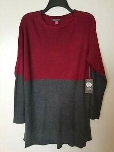 Vince Camuto Womens Waffle Knit Long Pullover Sweater Sz M Chianty Color Block