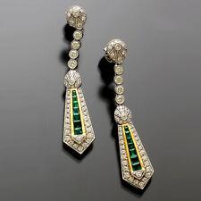 EMERALD DIAMOND DROP EARRINGS   18K WHITE GOLD, 1.8 CTW OF H/VVS1 DIAMONDS, 1.4