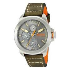 Hugo Boss 1513318 Men's Green & Orange Leather Strap Quartz Watch