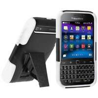 AMZER RUGGED HYBRID CASE COVER WITH KICKSTAND FOR BLACKBERRY CLASSIC Q20 - B/W