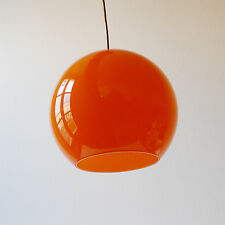 Vintage Suspension Globe boule verre orange lustre années 70 design 1970