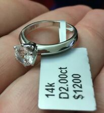 2 CT ROUND CUT DIAMOND SOLITAIRE ENGAGEMENT RING 14K WHITE GOLD Finish