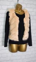 ~ABBIE~ Nude Faux Fur Trim Cropped Sleeveless Womens Gilet Jacket Size 8 10 12
