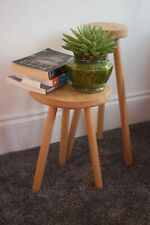 Handmade round solid oak plant stand and side table