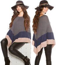 Eleganter Damen Poncho Pullover Cardigan Strickponcho Jacke Strickjacke Cape Gr.