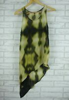 SABA Tank Top Sz 8 Green, Black Print 100% Silk Asymmetrical Hem