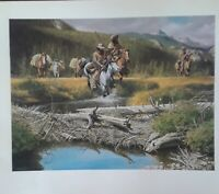 "Frank McCarthy,.""MOVING ON""-Mountain Men- Horses -Western,-9 x 11 Art Print"