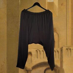 CARACLAN Black Drop Crotch Lagen Look Silky Trousers Size L NEW