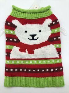 Pet Spirit Dog Puppy Sweater Christmas Time Polar Bear Design Green And Red XS
