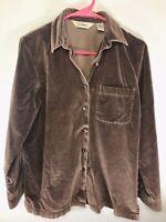 LL Bean Women's Cotton Heavy Shirt/ Light Jacket Size XS Brown Button Down