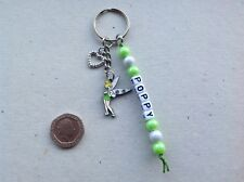 Handmade Personalised Name Tinkerbell Fairy Inspired Keyring Bag Tag Charm
