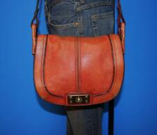 FOSSIL VINTAGE REISSUE Rugged Red Leather Flap Crossbody Messenger Purse Bag