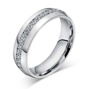 Stainless Steel CZ Ring Womens Mens Jewelry Titanium Ring Wedding Party Size 8