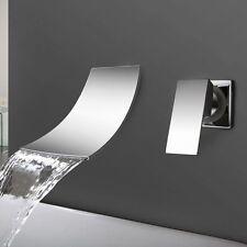 Chrome Bathroom Wall Mounted Tub Basin Sink Waterfall Faucet Dual Hole Mixer Tap