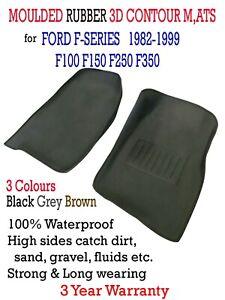 Fits Ford 1982-1999 F100 F150 F250 F350 3D Rubber Vinyl Floor Mats