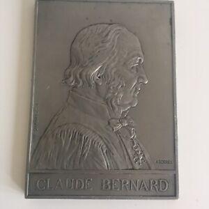 Médaille Plaque Claude Bernard par Borrel 1913