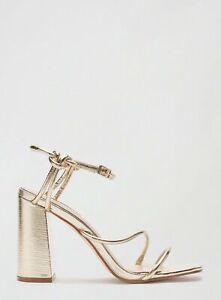 Miss Selfridge Womens Gold Spirit Heeled Sandals Shoes Ankle Strap Wide Heel