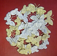 100 - 50/50 Gold - Silver  fabric Butterflies for Card, Scrapbooking and Wedding