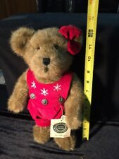 """Boyds Bear 12"""" Gwen Marie From The Investment Collection-Red Overalls Tags 1990"""