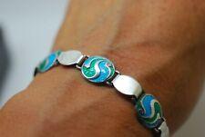 Arts & Crafts Art Nouveau Bracelet Antique Sterling Silver Enamel C1910 W & S s