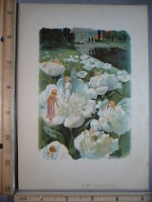 Rare Antique Original VTG c1900 Fairies In Flowers Scene Color Litho Art Print