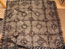 "ELAINE GOLD COLLECTION XIIX OLD WORLD COMPASS EXPLORER SILK SCARF 31"" x 31"""
