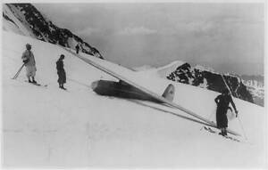 Skiers examining glider,1st International competition,Swiss Alps,1935,skis 6369