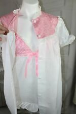 Womens Vtg Sears 60s S M 36 Babydoll Ruffle Gingham Pajama set w/ Robe & Panties
