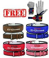 "EVO 6"" 4"" Pure Leather Gym Belts Weightlifting Back Support Straps Wrist Wraps"