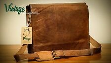 New Vintage Handmade Leather Laptop Mac Book Bag Full Flap Laptop Brifcase AU
