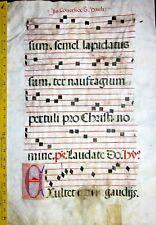 Huge flawed Antiphonary Manuscript Lf.Vellum,Fancy E &unusual T initial,ca.1500.