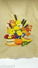 Finished Crewel Harvest Autumn Fruit Still Life 1974 Erica Wilson 1970s 7418