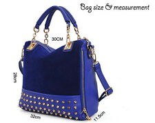 Rivet handbag split joint PU synthetic leather cat zipper bag blue