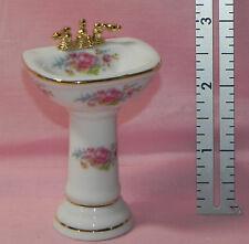 Dollhouse Miniature Pedestal Sink Dresden Rose Reutter Porcelain 1:12 Scale
