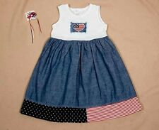 BONNIE JEAN GIRLS SIZE 5 DRESS PATRIOTIC FOURTH 4TH OF JULY FLAG & HAIRBOW