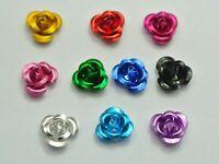 200 Mixed Colour Aluminum Metal Rose Flower Beads 6mm Finding