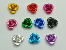 200 Mixed Colour Aluminum Metal Rose Flower Beads 6mm Finding