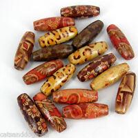 *LARGE* 50pcs Wooden beads ~mixed patterns~23x8mm New Rice beads Mix W399