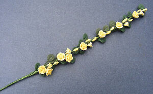 1:12 Scale 22cm Strip Of Yellow Roses Tumdee Dolls House Flower Garden Accessory