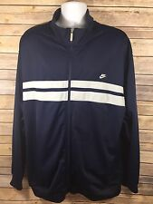 NIKE NAVY Blue White Stripe Full Zip Windbreaker Jacket Mens 3XL Vtg Design EUC
