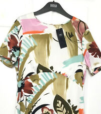 M&S Marks s12 Reg Med Ivory Painted Floral Silky Midi Swing Dress + Slip BNWT