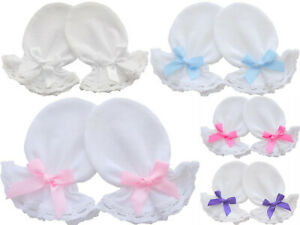 Cotton Jersey Newborn Baby Anti Scratch Mittens White Lace Christening 0-3 Mon