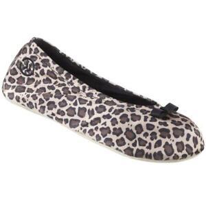 Isotoner Signature Womens Size Large 8-9 Satin Ballerina Slippers Cheetah Print
