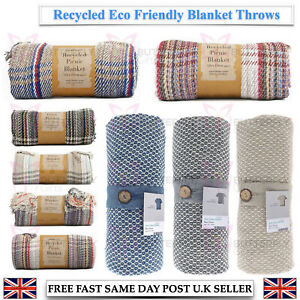 ECO FRIENDLY RECYCLED COTTON PICNIC CAMPING BLANKET THROW COVER