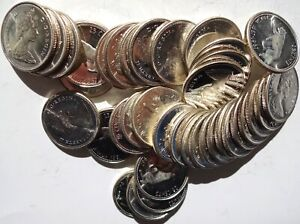 Full Roll of 40 Canada Silver 25 Cents 1967 Choice Unc Proof-like
