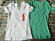 NWT Lot of Two Mossimo Womens V Neck Shirts XS White Green